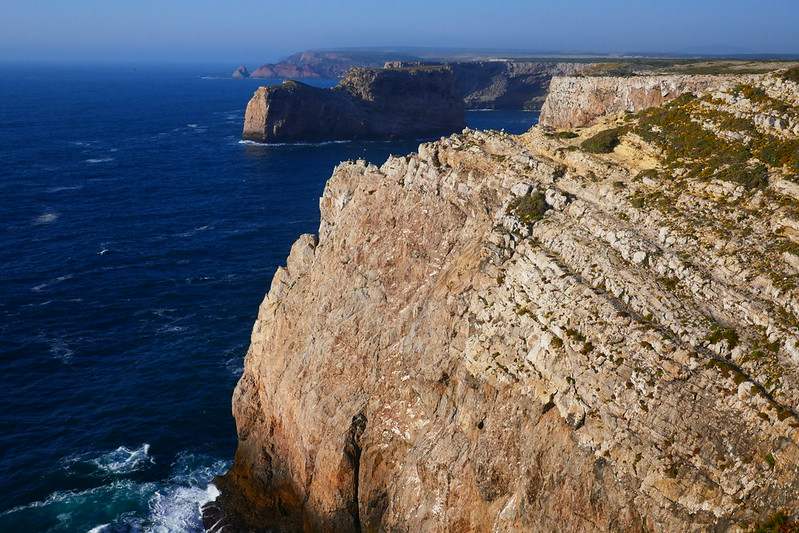 Looking out over St. Vincent's Cape and the Atlantic Ocean from Sagres in the Algarve.