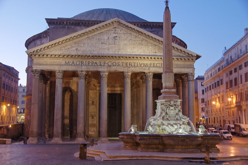 The Pantheon, built during Hadrian's reign and completed around AD 125, is topped by a poured concrete dome and is generally considered to be the most extraordinary building the Romans ever built – Rome, Italy.