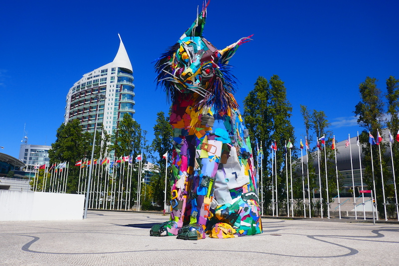 Parque das Nações in Lisbon and an Iberian lynx made from garbage by street artist Bordalo II