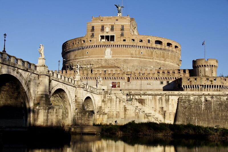 The Mausoleum of Hadrian, completed in AD 139 but since greatly modified to become a Papal fortress known as Castel Sant'Angelo, and the AD 134 Pons Aelius (now the Ponte Sant'Angelo) – Rome, Italy.