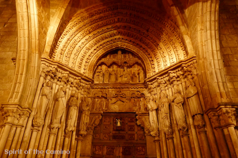 The Romanesque portal of Tui cathedral, the symbol of the city that serves as the entrance to Spain and Galicia on the Portuguese Way.