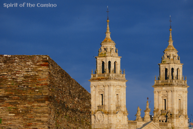 The Roman Walls and cathedral of Lugo.