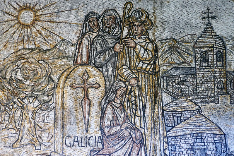 A section of the mosaic at the Poio Monastery showcasing Galicia.