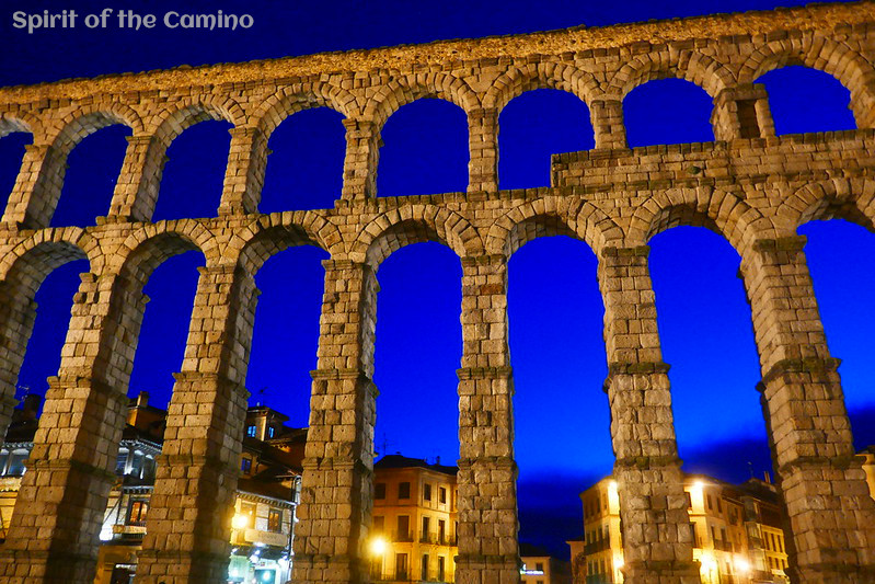 The 1st or 2nd-century AD Roman aqueduct in Segovia is particularly beautiful at nightfall.