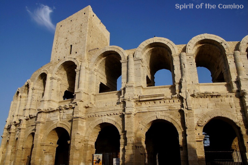 The impressive amphitheatre in Arles, complete with a medieval tower rising from the Roman structure.