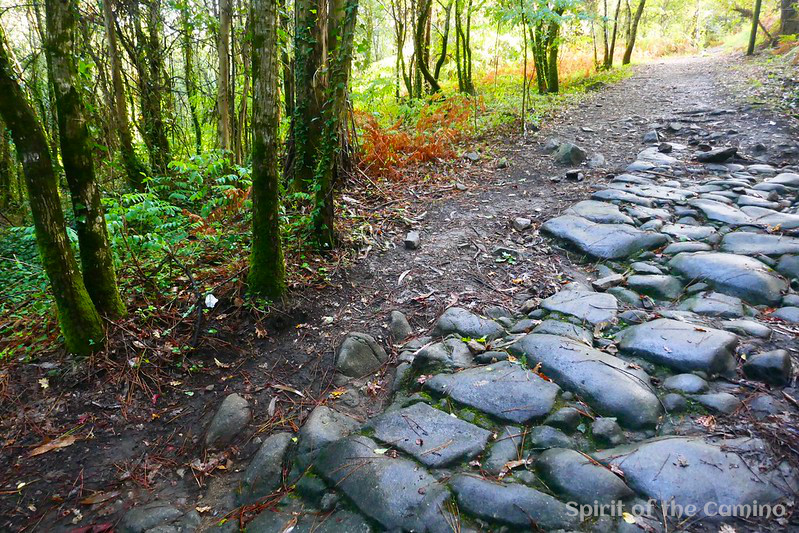 This stretch of Roman road on the Portuguese Way is less than a day's walk from Santiago de Compostela.