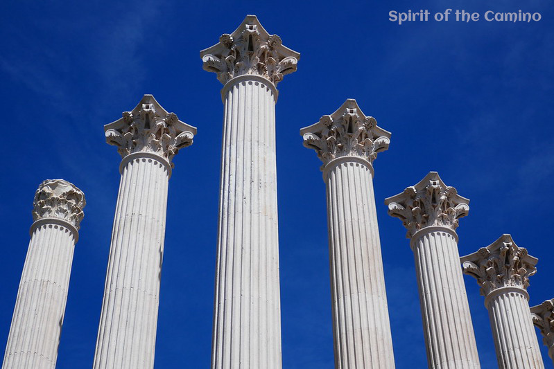 The soaring columns of the Roman temple in Córdoba, Spain.