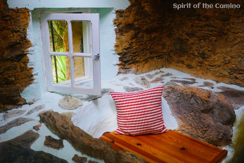 The private room inside an old water mill at Albergue Moinho Garcia.