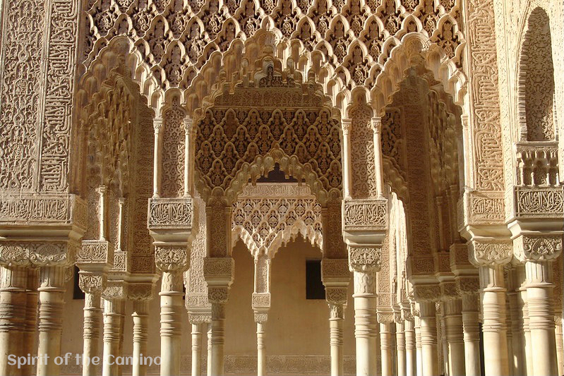 The beautiful artistic decoration at the Alhambra.