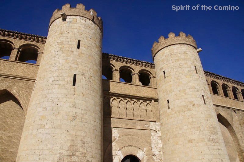 The imposing towers of the Aljafería in Zaragoza.