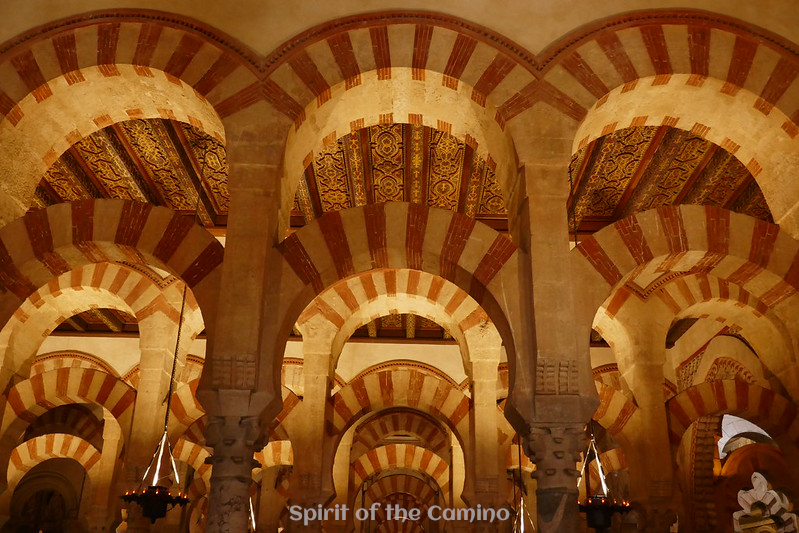 The double-tiered arches inside the Mezquita, Córdoba.
