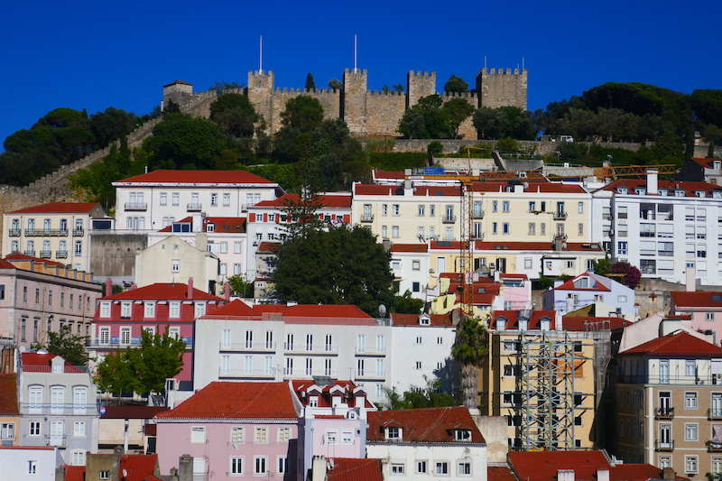 The view of St. George's Castle and the rooftops of Lisbon from the bar at Hotel Mundial.