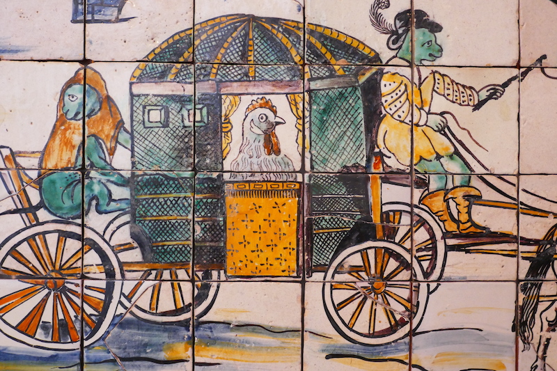 A scene from 'The Chicken's Wedding' at the National Tile Museum.