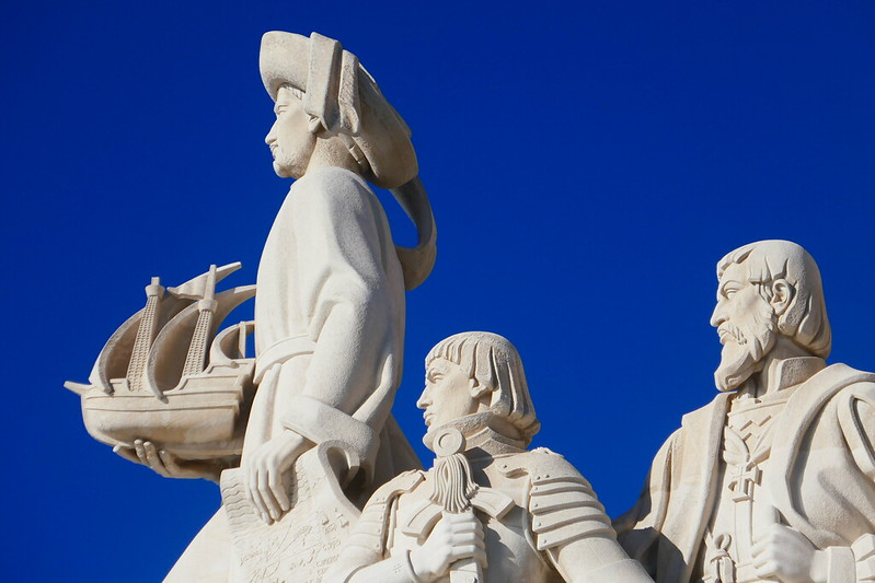 Henry the Navigator atop the Padrão dos Descobrimentos, followed by King Afonso V and Vasco da Gama.