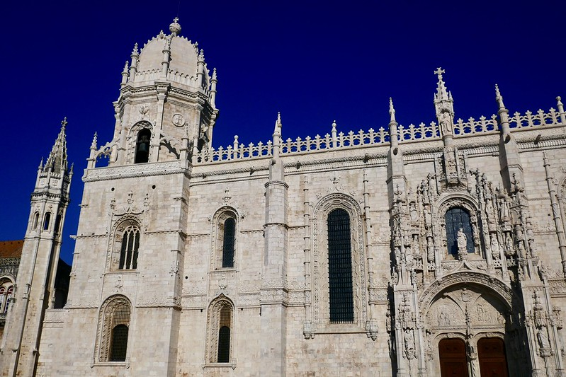 The spires and domes of the Jerónimos Monastery in Belém.
