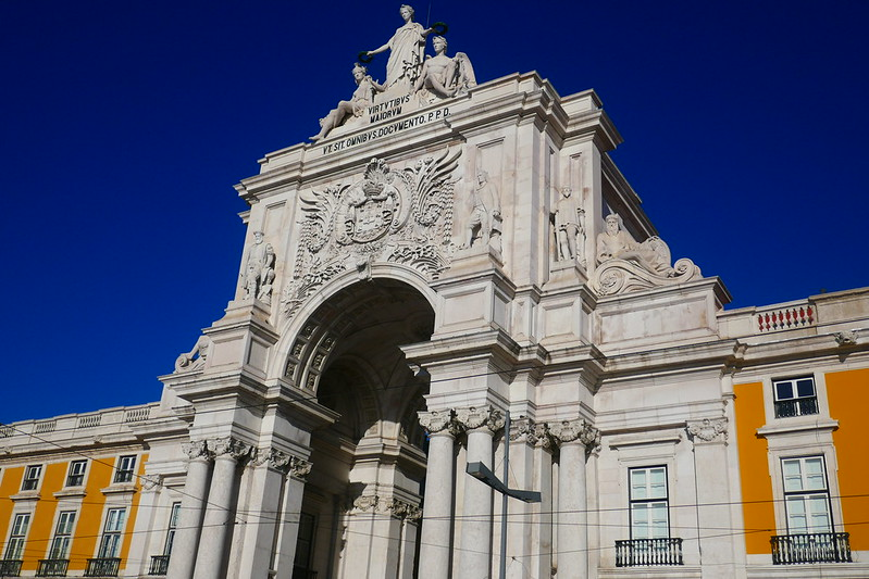 The Rua Augusta Arch at the northern end of the post-earthquake Praça do Comércio in the Baixa.