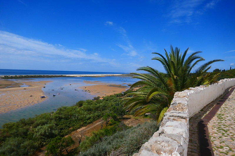 Looking out over the Ria Formosa estuary and the ocean from Cacela Velha on the first day of the Caminho Nascente.
