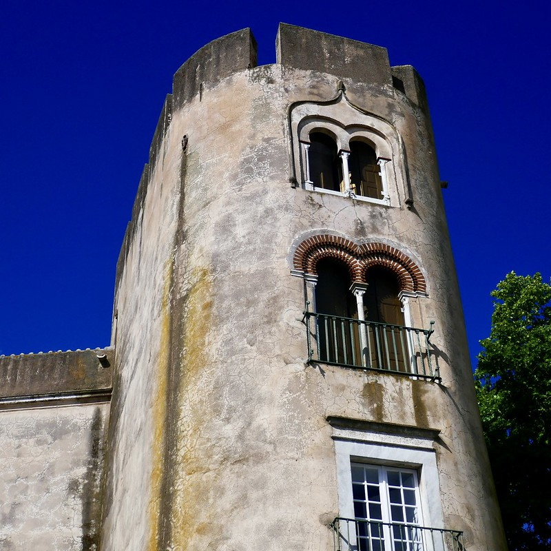 The tower of the Alvito castle - now a luxury hotel - with two Arabesque windows.