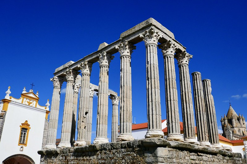 The 1st-century AD Roman Temple in Évora, the biggest city on the Caminho Nascente.