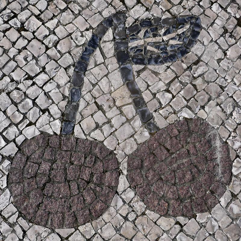 The calçada portuguesa mosaic pavement in Alcongosta, the cherry capital of Portugal.